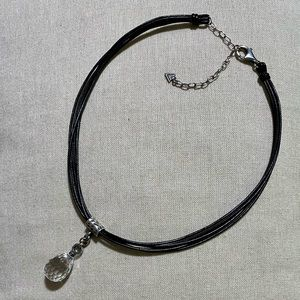 Black Leather and sterling necklace w/crystal